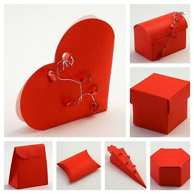Silk Red Favour Boxes Range - Luxury DIY Wedding Party Gift Box Only • 6.75£
