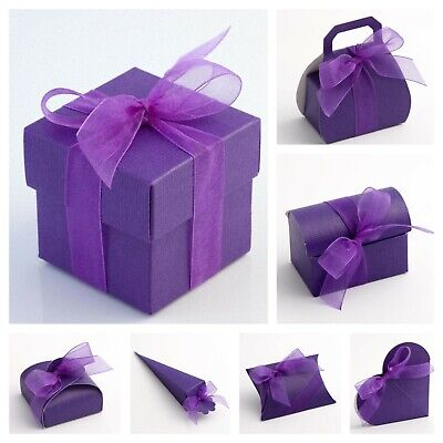 £1.79 • Buy Silk Purple Wedding Favour Boxes Range - Luxury DIY Party Gift Box Only