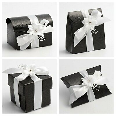 £1.49 • Buy Black Pelle Wedding Favour Boxes - Luxury DIY Party Gift Box Only