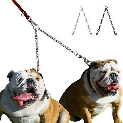 AU15.69 • Buy 1PC 2 Way Metal Lead Chain Coupler Double Dog Leash For Two Dogs No Tangle Safe