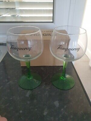 X2 Tanqueray Green Stemmed Gin Balloon Glas$es- New Free P&P • 14.99£