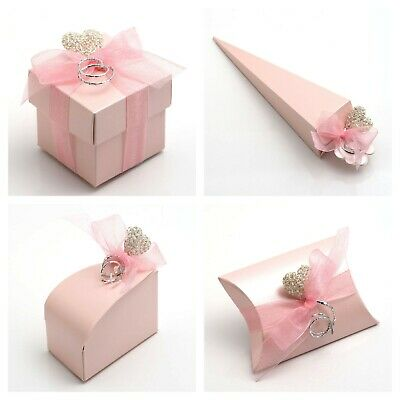 £1.79 • Buy Pink Satin Pearlised Wedding Favour Boxes - Luxury Party Baby Girl Gift Box Only