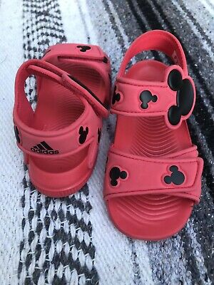 6af92e54b3a Adidas X Disney Mickey Mouse Alta Swim (Kid's Size 8K) Water Sandals Red •