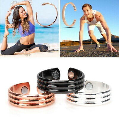 Magnetic Ring Copper Arthritis Aid Therapy Pain Healing Health Adjustable Size • 3.47£