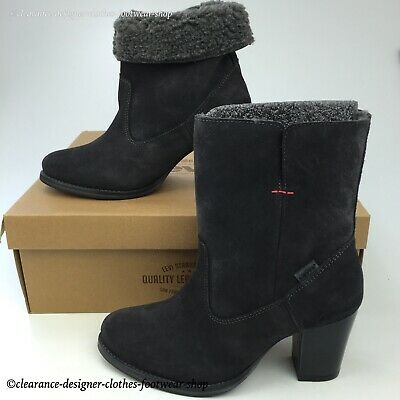 Levis Sancho Heel Fur Boots Womens Roll Up Grey Suede Boots Uk 4.5 Rrp £120 • 52.49£