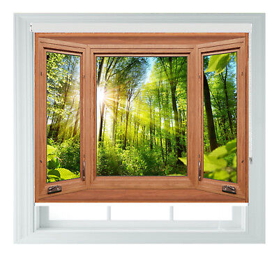 Brown Window GREEN FOREST Printed Photo Black Out Roller Blinds Various Sizes • 65£