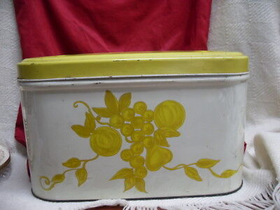 $32.29 • Buy Vintage Metal Tin Bread Box White With Hinged Lid Retro Shabby Chic #2788