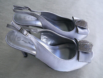 Anne Michelle Pewter Satin Diamante Bow Party Shoes - Size 5 • 15.99£