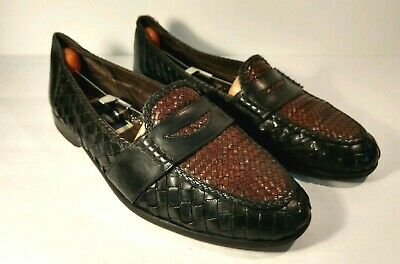 0aba7c3509 BRAGANO Cole Haan Black/Brown Spectator Woven Penny Loafer Mens Shoes Size  12 M •