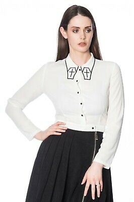 £27.99 • Buy White Gothic Rockabilly Punk Cross Coffin Undertaker Blouse Shirt BANNED Apparel