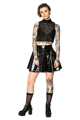 Women's Black Gothic Rockabilly Punk Emo Sleeveless Lace Crop Top BANNED Apparel • 22.99£