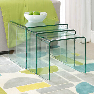Geo-Glass Clear Large Nest Of 3 Tables - GG76 • 159£