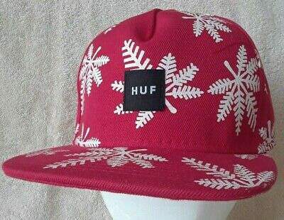 4df6b873d92a87 HUF Hat Cap Red & White Plantlife Snapback Genuine NWOT Made In The US •  11.49