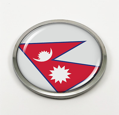Nepal Flag 3D Domed Emblem Badge Car Sticker Chrome ROUND Bezel • 14.30£