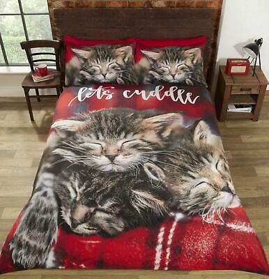 Cuddle Cats Duvet Cover Bedding Bed Set Modern Cute Kitten Animal Themed • 22.99£