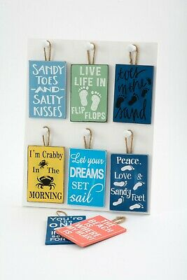 NEW Nautical Small Beach Hanging Plaque Sign Shabby Chic Decoration Sand Wood • 2.99£