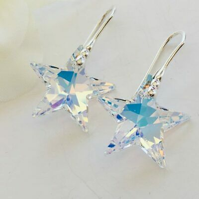 £15.99 • Buy Made With Swarovski® Crystals 925 Sterling Silver Star Earrings 20mm Aurora AB