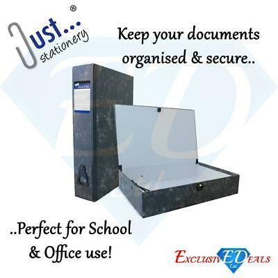 Box File With Document Clip - Office Files Papers Storage Organiser Folder Case • 6.95£