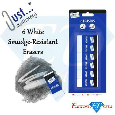 6 Quality White Soft Erasers Rubbers - Smudge-Resistant Stationery School Office • 2.35£