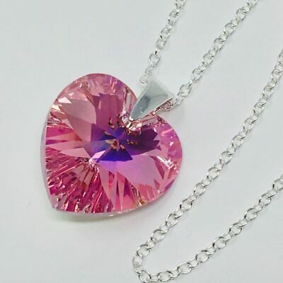 £11.99 • Buy 925 Silver Crystal Heart Necklace Pendant Rose Made With Swarovski® Crystals
