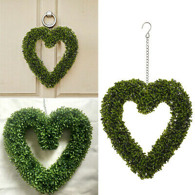 Green Artificial Plant Topiary Heart Hanging Love Wreath Wedding Party Decor • 14.95£