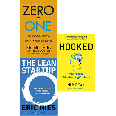 AU63.87 • Buy Zero To One,Hooked,Lean Startup How Constant Innovation 3 Books Collection Set