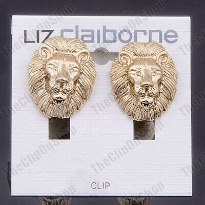 £4.44 • Buy CLIP ON EARRINGS 3cm Big Chunky Lion Head GOLD FASHION Vintage 80s Style Clips