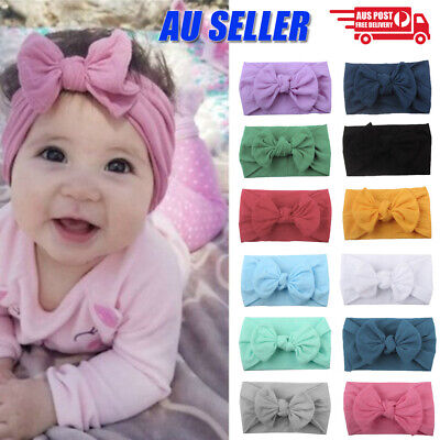 AU4.99 • Buy Baby Girl Infant Toddler Bow Hairband Headband Turban Big Knot Head Wrap Soft