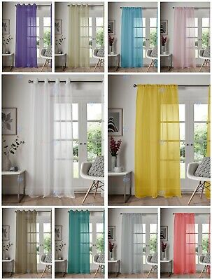 £4.95 • Buy Eyelet Ring Top Voile Curtain Net Panel Slot Top Voile Curtain Nets All Sizes