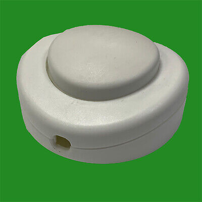 White 2/3 Core 2A Foot Button Lamp Light Round Floor Inline On/Off Switch, 65mm • 5.45£