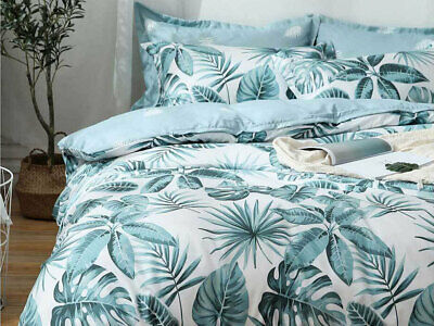 AU45.90 • Buy Tropical Quilt Cover Aqua Blue Turquoise Palm Tree Leaf Doona Cover Set All Size