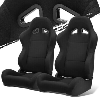 $308.50 • Buy Black Pineapple Seat Fabric Left/Right Type-R Style Racing Bucket Seats + Slider