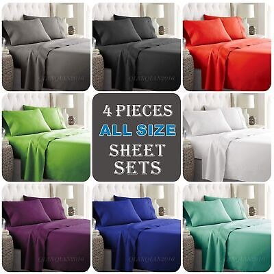 AU35.77 • Buy 4PCS 1000TC Ultra SOFT Fitted Flat Sheets Set Single/KS/Double/Queen/King/SK Bed