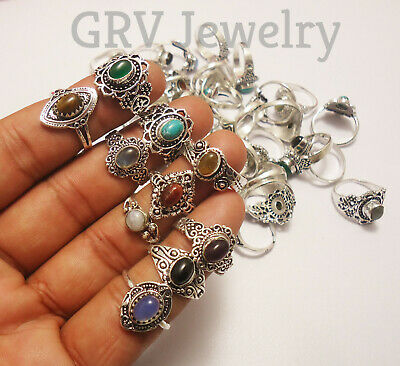 $ CDN43.67 • Buy 100pcs Rings Wholesale Lot Mix Gemstones 925 Sterling Silver Plated Jewellery