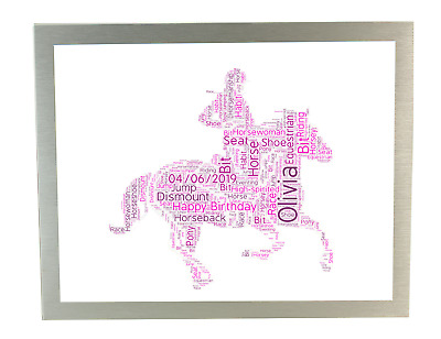 £6.50 • Buy Personalised Word Art Print Horse Riding Race Ride Birthday Gifts For Her Women