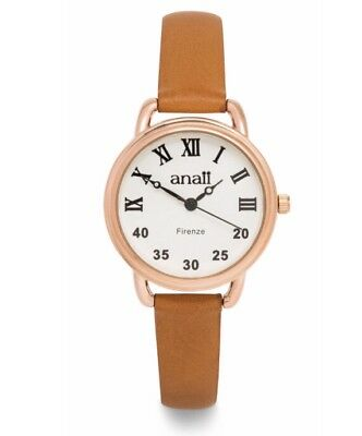 Anaii Firenze Women Rose Gold - Slim Leather Tan Brown Strap Fashion Watch BOXED • 28.99£