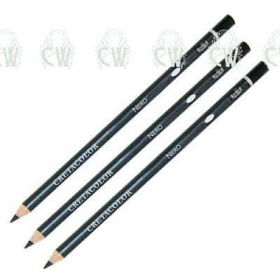 3 X Cretacolor Artists NERO Black Oil Pastel Pencils. MEDIUM.Drawing & Sketching • 5.50£