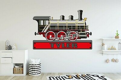 TRAIN ENGINE PERSONALISED WALL STICKER Children's Boys Bedroom Decal Art 4 Size • 27.99£