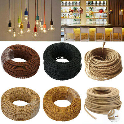 5M/10M/20M 2 Core Twisted Fabric Braided Electric Cable Flex Vintage Lamp 0.75mm • 9.99£