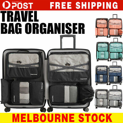 AU20.99 • Buy 7Pc Packing Cubes Travel Pouches Luggage Organiser Clothes Suitcase Storage Bag
