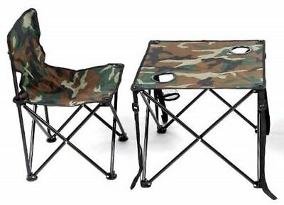 Folding Table Chair 2 Piece Set  Camo Camping Picnic Garden Patio Portable • 17.99£