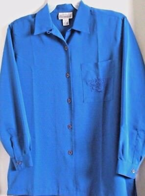 $12.99 • Buy Christie & Jill Blouse M-14 Solid Blue Embroidered Patch Pocket L/s New