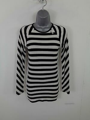Womens Vans Black/white Striped Long Sleeved Casual Crew Neck T Shirt Xs Xsmall • 9.99£