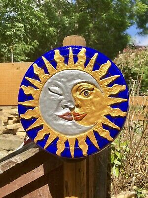 £29.99 • Buy Sun Moon Celestial Garden Plaque Litha Summer Solstice Pagan Wiccan Hand Painted