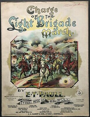 $8.99 • Buy 1896 E.t. Paull  Charge Of The Light Brigade  Art Cover Sheet Music - Large