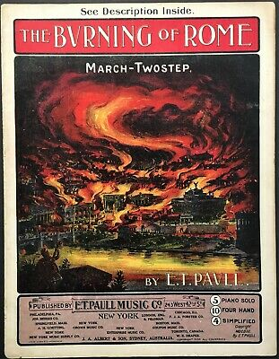 $9.99 • Buy 1903 E.t. Paull  The Burning Of Rome  Art Cover Sheet Music - Large Format