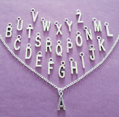 £2.49 • Buy Personalised Silver Tone Initial Letter Necklace A-Z Charm Pendant & Gift Bag