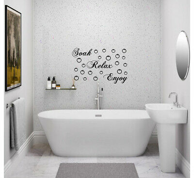 BATHROOM Sticker Decal Soak Relax Enjoy Quote Wall Art DIY • 2.80£