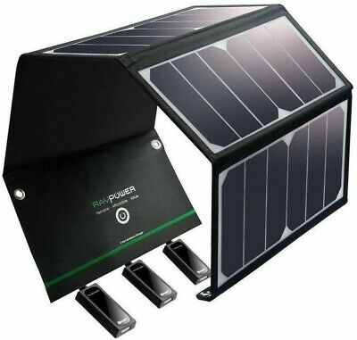 AU169.95 • Buy RAVPower Travel Solar Charger 24W Panel 3 USB Ports Waterproof IOS Android NEW