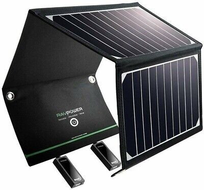 AU99.95 • Buy RAVPower Travel Solar Charger 16W Panel 2 USB Ports Waterproof IOS Android NEW